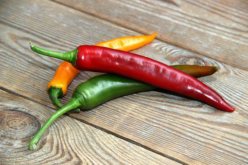 Red, Green, Wood, Yellow, Spice, Three, Chili, Pod