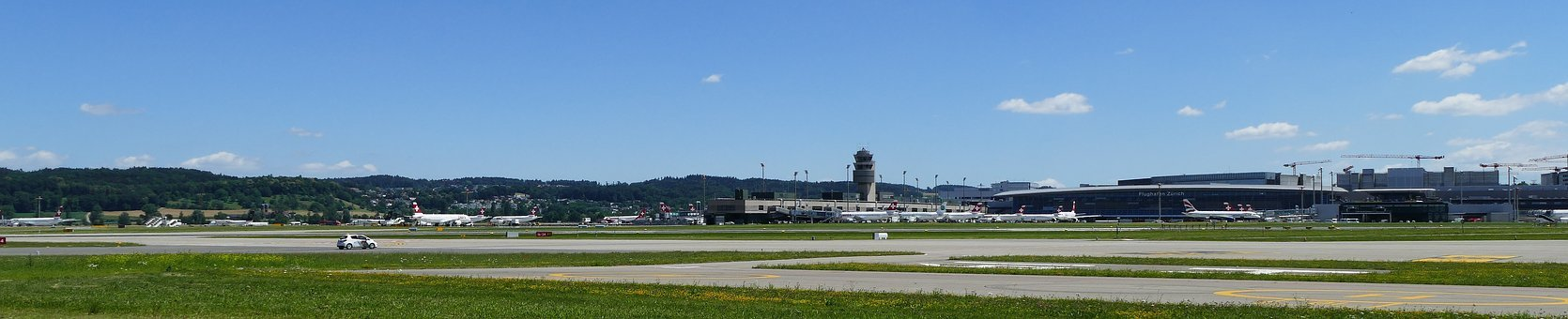 Panorama, Airport, Zurich, Balls, Sunny, Slopes, Tower