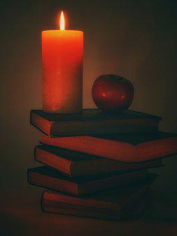 Candle, Book Stack, Books, Read, Apple, Still Life