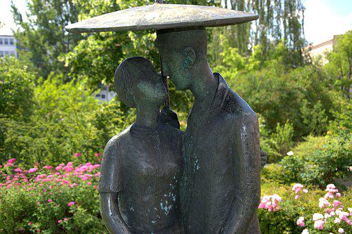 Art, Statue, Sculpture, Pair, Under The Umbrella