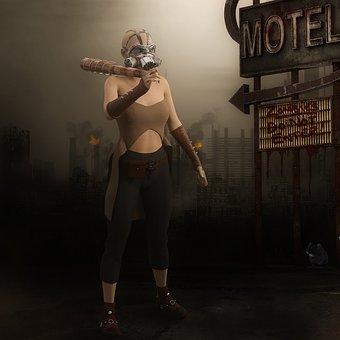 Woman, Mask, End Time, Baseball Bat, Gas Mask