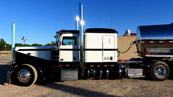 Truck, Transport, American, Chrome, White, Black