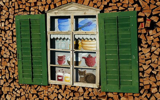 Window, Holzstapel, Shutters, Sun, Cat, Pot, Tableware