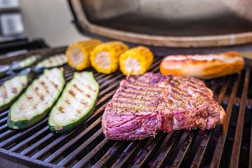 Meat, Barbecue, Bbq, Grill, Flame, Corn, Zucchini