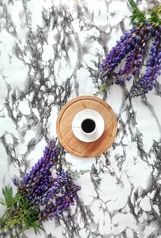 Drinks, Coffee, Flowers, Lupins, Marble, Background