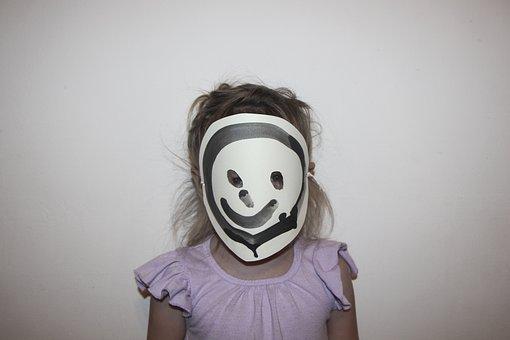 Mask, Girl, Smile, Art, Craft, Creepy, Scary, Emoji