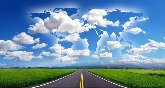 Road, Start, World, Continents, Globalization