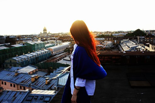 Girl, Roof, Woman, Style, Hair, Beautiful, Posture