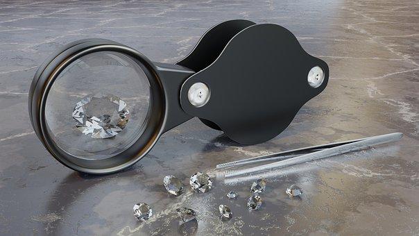 Magnifying Glass, Diamonds, Tweezers, Jeweler, Carat