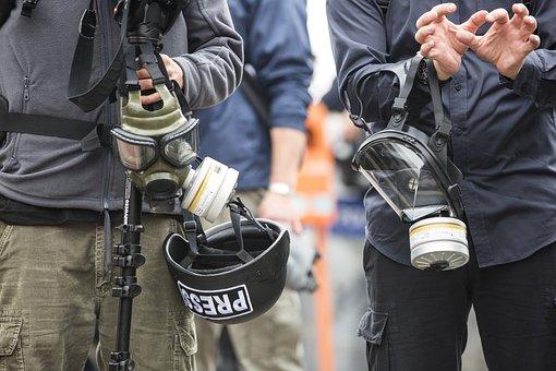 Press, Journalist, Gas Mask Attack, Violence, News