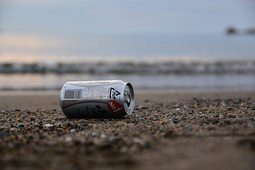 Natural, Landscape, Sea, Beach, Wave, Sand, Empty Cans