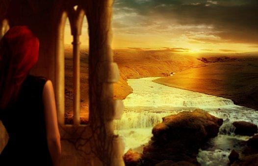 Fantasy, Landscape, Woman, Ruin, Waterfall, Sunrise