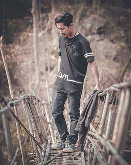 Boy, Look, Away, Bamboo, Bridge, Black, Tee, Dress