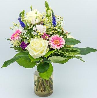 Bouquet, Flowers, Nature, White, Plant, Vase, Love