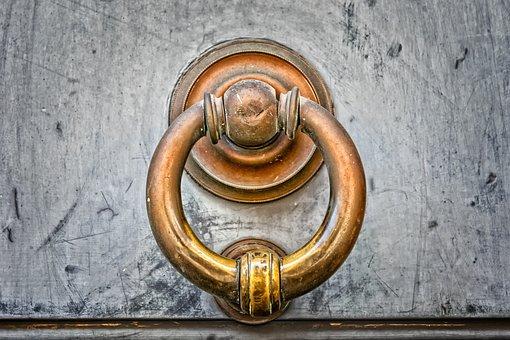 Door, Thumper, Copper, Metal, Antique, Handle