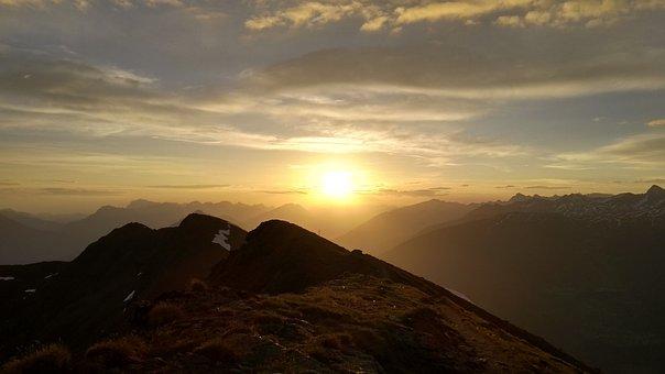Sunrise, Mountain, Landscape, Dawn, Morning, Clouds