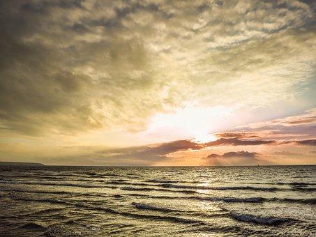 Sunset, Sea, Ocean, Baltic Sea, Bright, Dusk, Gold