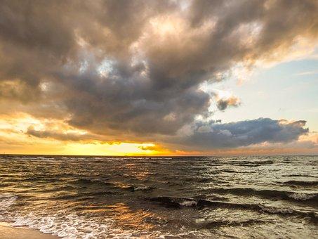 Clouds, Sky, Dramatic, Sea, Ocean, Wave, Beach