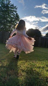 Girl, Cute, Running, Sky