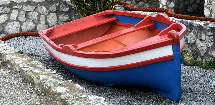 Boat, Rope, Bright, Colors, Stone Wall, Beached
