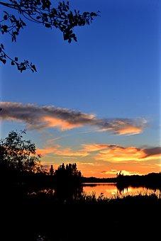 Sunset, Twilight, Landscape, Summer, Colors, Trees, Sky