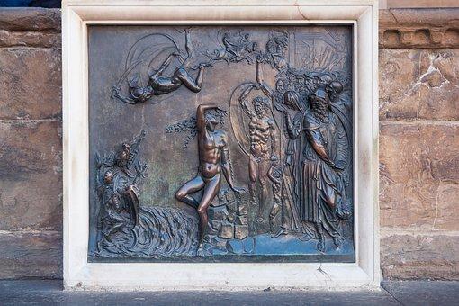 Firenze, Bronze, Relief, Italy, Travel, Architecture