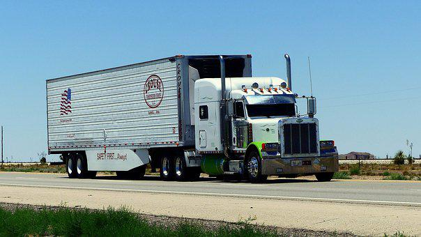 Truck, Transport, American, White, Road, Highway, Usa