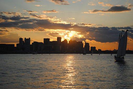 Massachusset, Sun, City, Landscape, Twilight
