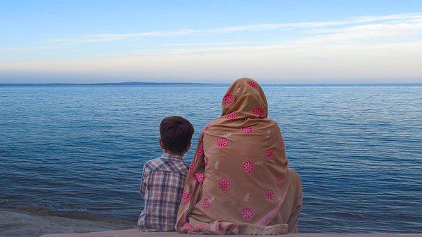 Women, Child, Sea, Calm, Walk, Portrait, People, Adult