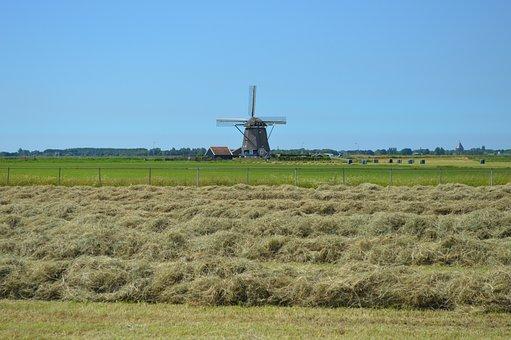 Mill, Landscape, Air, Blue