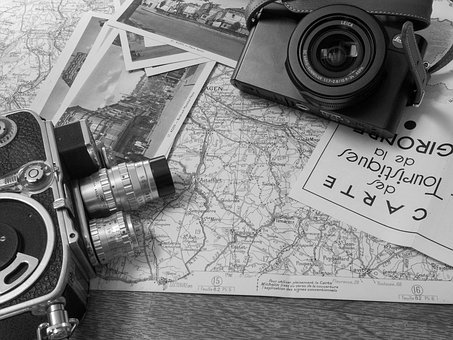 Picture, Map, Office, Vintage, Pipe, Black White