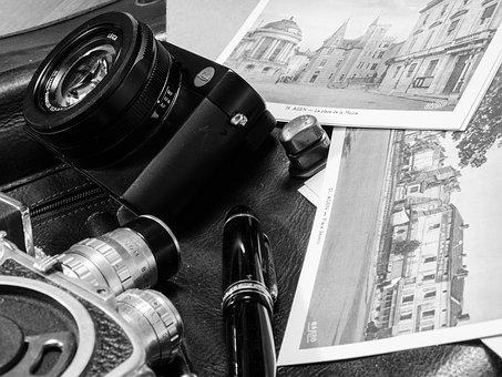 Picture, Map, Office, Vintage, Pen, Black White