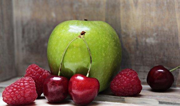 Apple, Raspberries, Cherries, Fruit, Fruits, Food, Eat