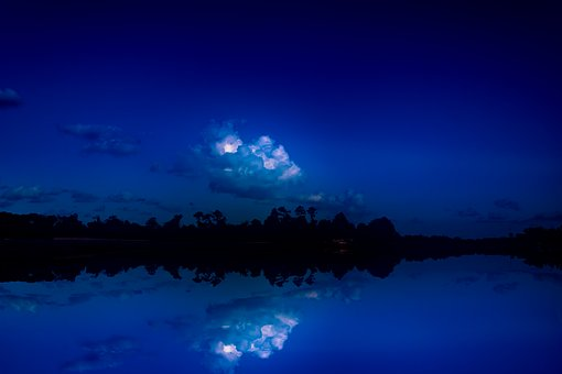 Blue Night Sky Reflection, Mirroring, Clouds, Water