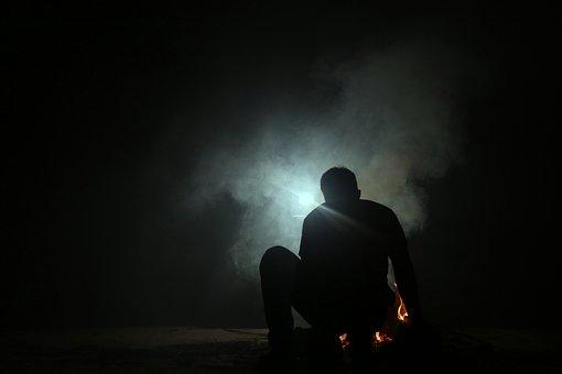 Smoke, Fire, Man, Silhouette, Light, Coal, Apocalypse