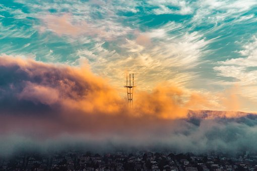 Fog, San Francisco, Clouds, Sunset, Sky, Nature