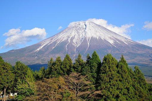 Mountain, Japan, Hills, Shizuoka, Sky, Tree, Forest