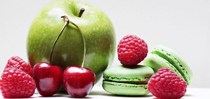 Apple, Raspberries, Cherries, Macarons, Fruit, Fruits