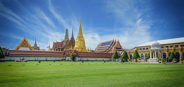 Thailand, Big Palace, Grassland, Stupa