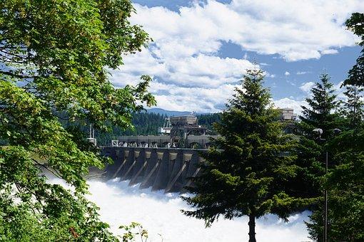 Dam, Falls, Columbia, Bonneville, Landscape, River