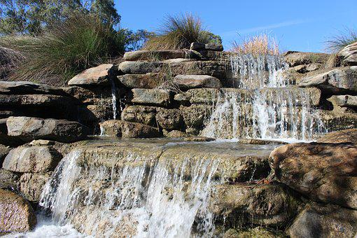 Water Feature, Cascade, Landscaping Design, Stones
