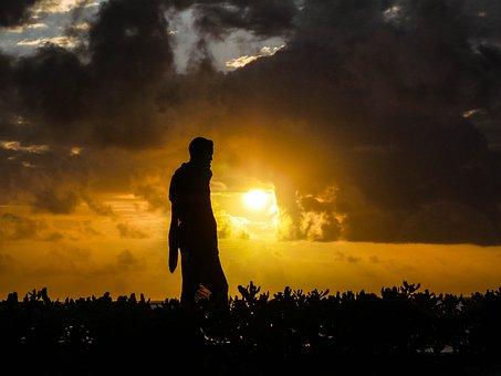 Massai, Guard, Sunrise, Back Light, Zansibar, Security