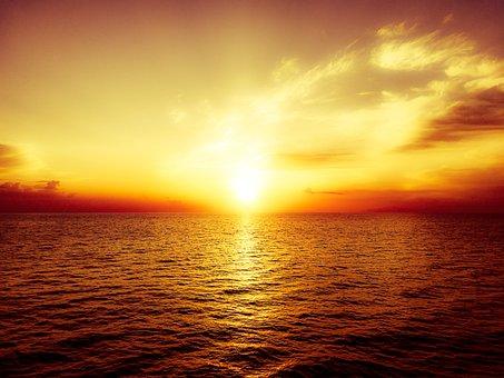 Sunset, Water, Sea, Lake, Ocean, Sky, Mood