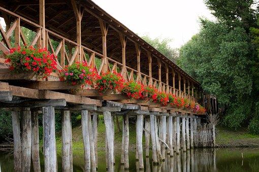 Wooden Bridge, Water, Romantic, Mood, Pile