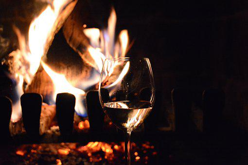 Fire, Fireplace, Red Wine, Glass, Romantic, Heat, Flame