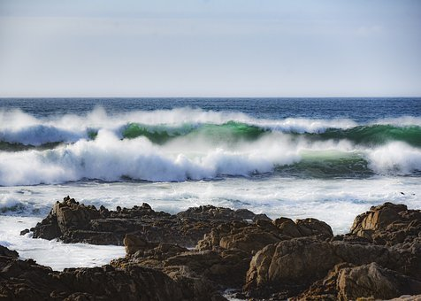 Ocean Wave, Blue Water, Soft Surf, Water, Nature, Sea