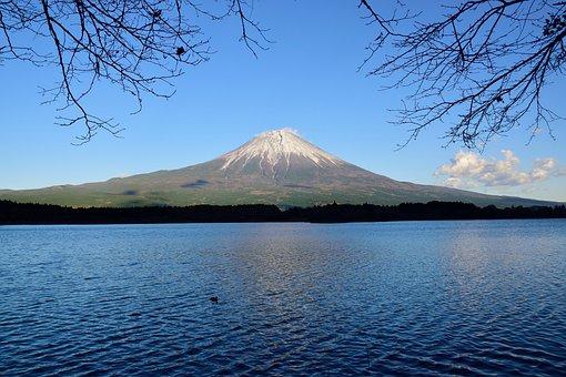 Mountain, Japan, Hills, Shizuoka, Sky, Lake, Fuji, Tree