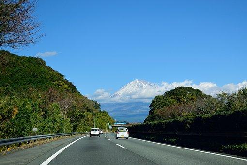 Mountain, Japan, Hills, Fuji, Shizuoka, Sky, Road