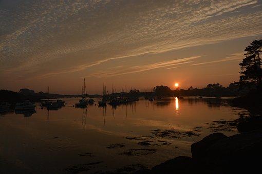 Sunset, Sea, Coast, Mood, Clouds, Sun, Red, France