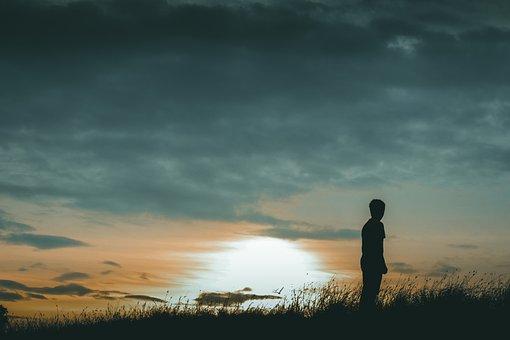 Sunset, Alone, Twilight, Sky, Silhouette, Hill, Sun